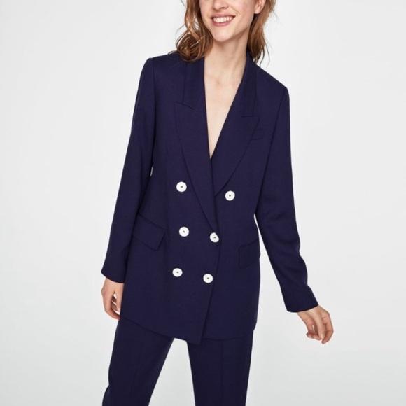 Zara Double Breasted Navy Flowing Blazer Jacket M